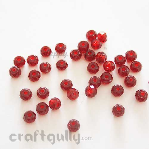 Acrylic Beads 8mm - Faceted - Maroon - Pack of 20