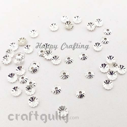 Bead Caps 5mm - Flower #10 - White Silver - Pack of 50