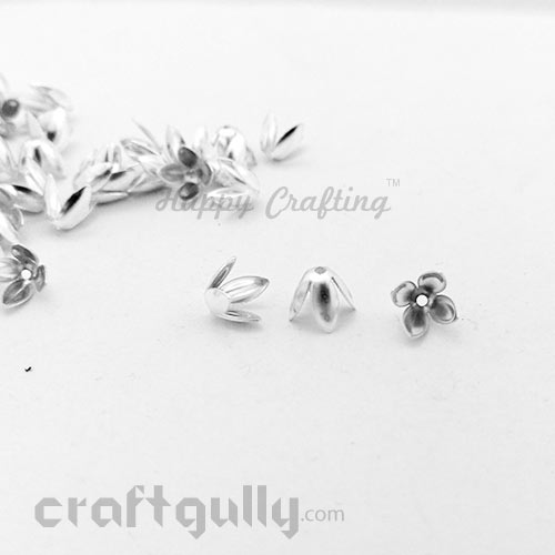 Bead Caps 7mm - Flower #9 - Silver - Pack of 12