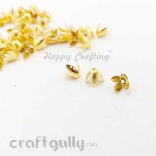 Bead Caps 7mm - Flower #9 - Golden - Pack of 12