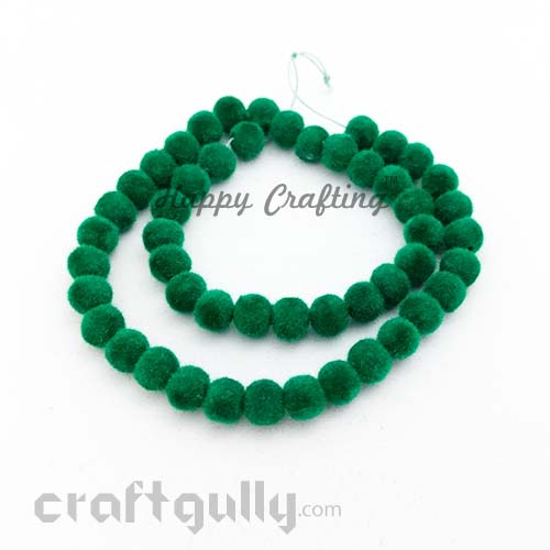 Velvet Beads 8mm - Round - Bottle Green - Pack of 48