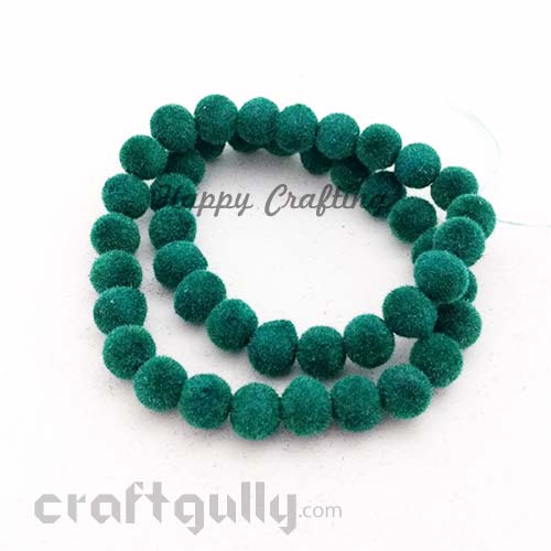Velvet Beads 8mm - Round - Dark Green - Pack of 48