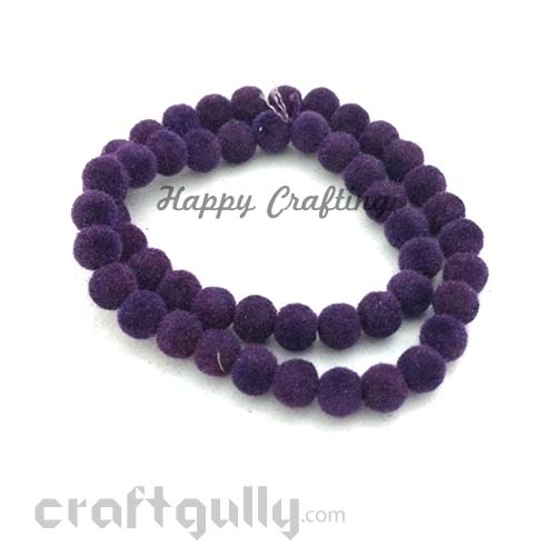 Velvet Beads 8mm - Round - Purple - Pack of 48