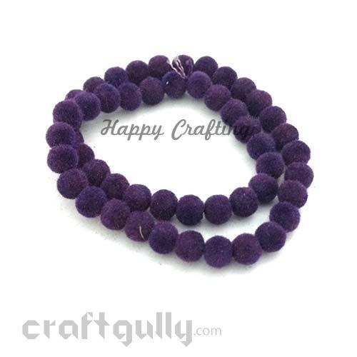 Velvet Beads 6mm - Round - Purple - Pack of 80