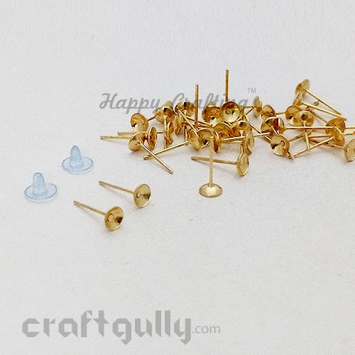 Earring Studs 5mm - Cup With Stoppers - Golden - 5 Pairs