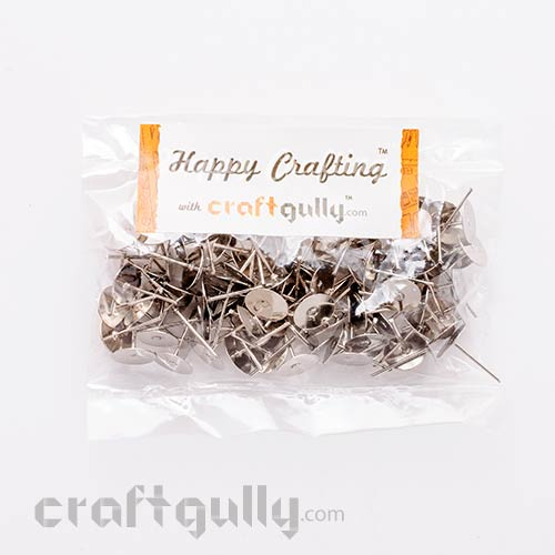 Earring Studs 5mm - Flat - Silver Finish - 50 Pairs