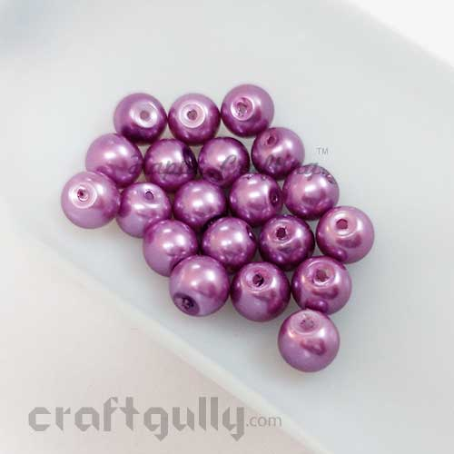 Glass Beads 8mm - Faux Pearl - Round - Purple - Pack of 20