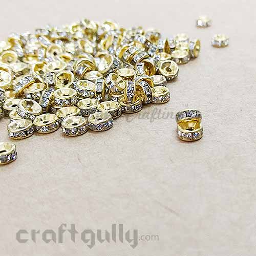 Spacer Beads 7mm - Rhinestones Golden - Pack of 12