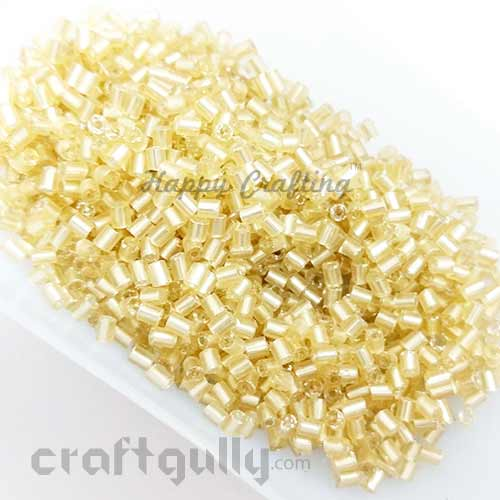 Seed Beads 3mm - Glass - Hexagonal - Metal Lined Golden - 25gms