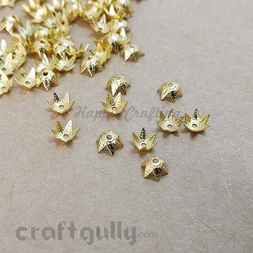 Bead Caps 6mm - Star - Golden Finish - Pack of 50