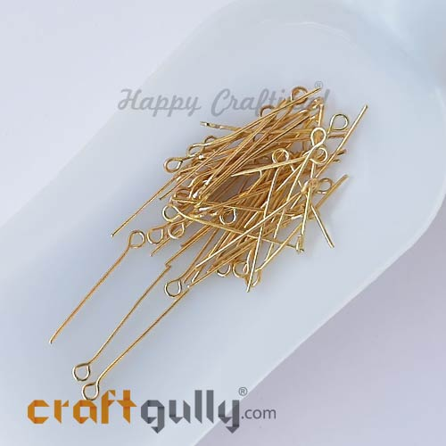 Eye Pins 26mm - Golden Finish - Pack of 50