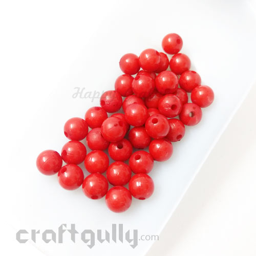 Acrylic Beads 7mm - Round - Red - Pack of 40
