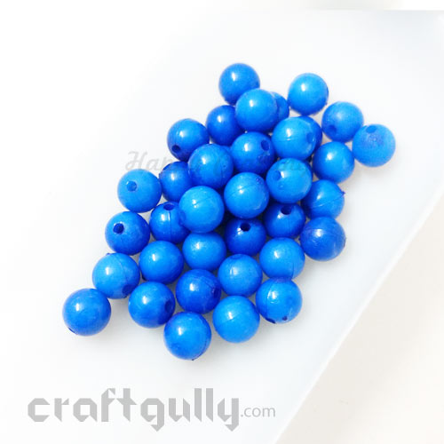 Acrylic Beads 7mm - Round - Ink Blue Shaded - Pack of 40