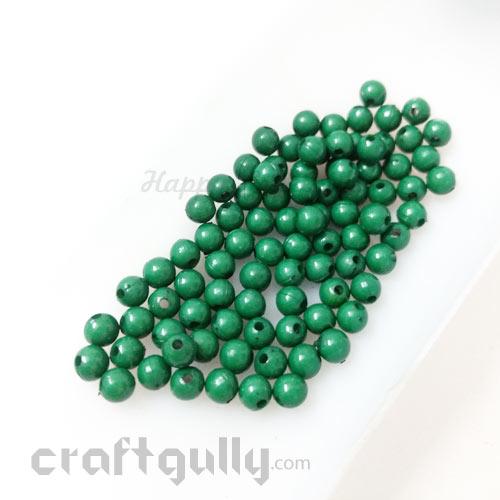 Acrylic Beads 4mm - Round - Dark Green - 5gms