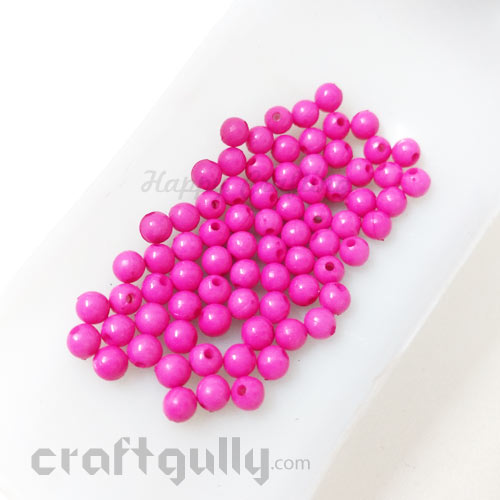 Acrylic Beads 4mm - Round - Dark Pink - 5gms