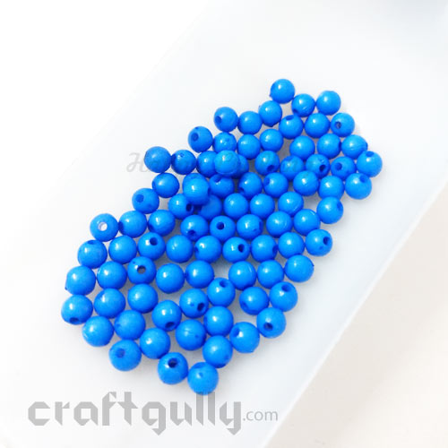 Acrylic Beads 4mm - Round - Cobalt Blue - 5gms