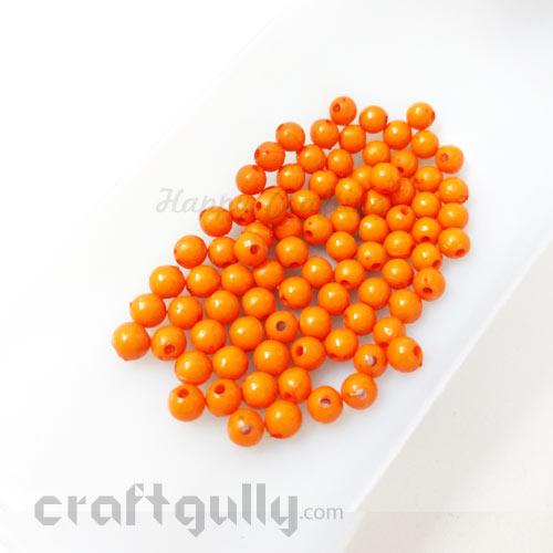 Acrylic Beads 4mm - Round - Orange - 5gms