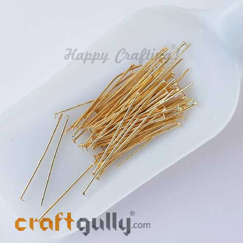 Head Pins - Flat 35mm - Golden Finish - Pack of 50
