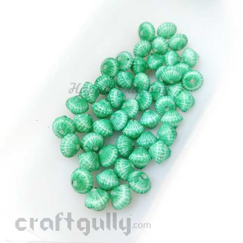 Acrylic Beads 6mm - Bicone with Lines - Bottle Green - Pack of 50