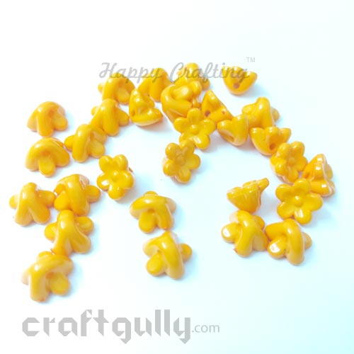 Acrylic Beads 10mm - Flower #3 - Light Orange - Pack of 30
