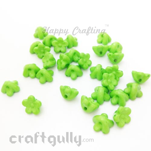 Acrylic Beads 10mm - Flower #3 - Light Green - Pack of 30