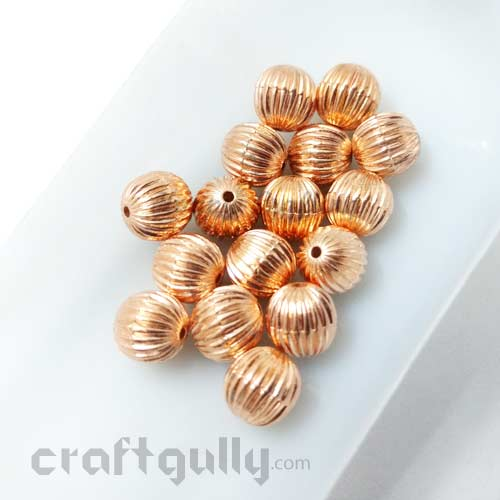 Acrylic Beads 9mm - Round Lined - Rose Gold - Pack of 8