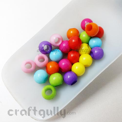 Acrylic Beads 8mm - Round With Large Hole - Assorted  - Pack of 24