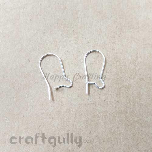 Earring Loops / Kidney Hooks 16mm - Silver Finish - 5 Pairs