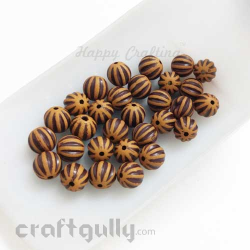 Acrylic Beads 8mm - Round With Pumpkin Lines - Wood Finish #1 - Pack of 30