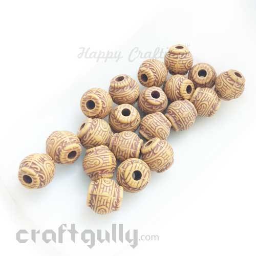 Acrylic Beads 9mm - Lantern - Wood Finish #4 - Pack of 10