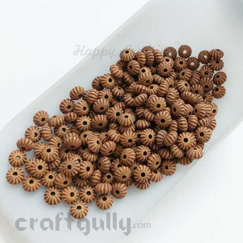 Acrylic Beads 2mm Spacers - Mini Flowers - Wood Finish #5 - 10 gms