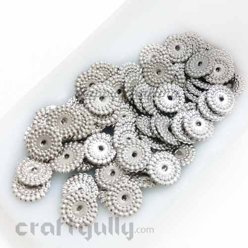 Acrylic Beads 10mm Spacers - Flat Disc - Ox. Silver Finish - 5gms