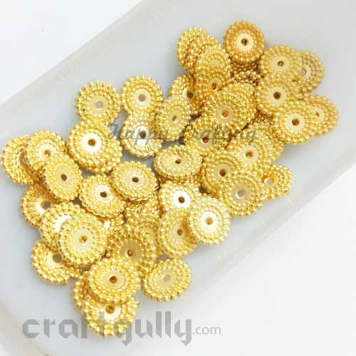 Acrylic Beads 10mm Spacers - Flat Disc - Golden Finish - 5gms