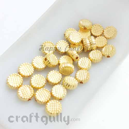 Acrylic Beads 8mm - Disc With Texture - Golden Finish - Pack of 30