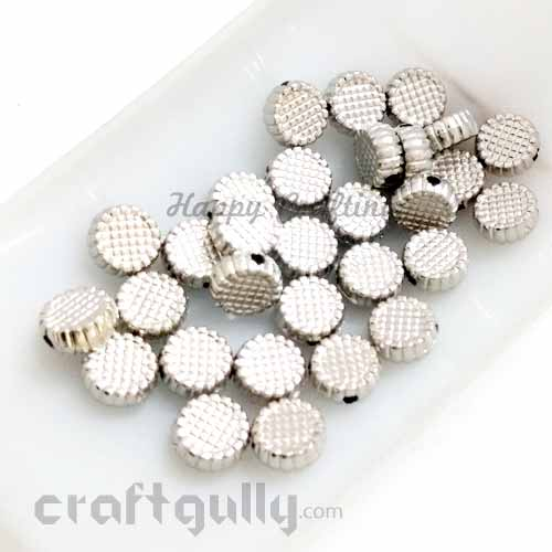Acrylic Beads 8mm - Disc With Texture - Oxidised Silver Finish - Pack of 30