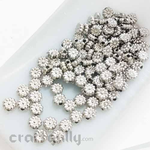 Acrylic Beads 5mm - Flower #5 Mini - Oxidised Silver Finish - 5gms