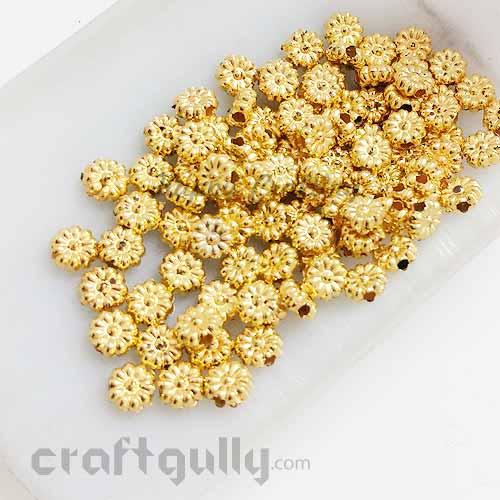 Acrylic Beads 5mm - Flower #5 Mini - Golden Finish - 5gms