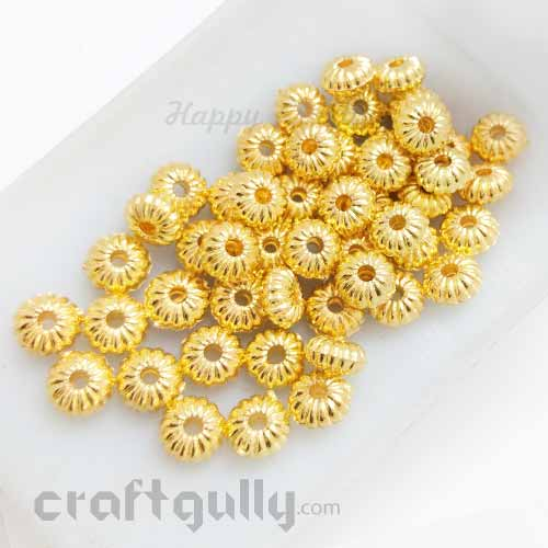 Acrylic Beads 4mm Spacers - Flower #6 - Golden Finish - Pack of 50