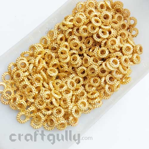 Acrylic Beads 5mm Spacers - Ring - Golden Finish - 10gms