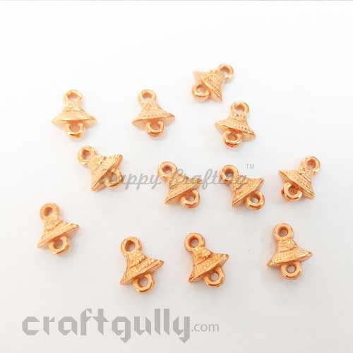 Charms 11mm Acrylic - Bell - Rose Gold - Pack of 12