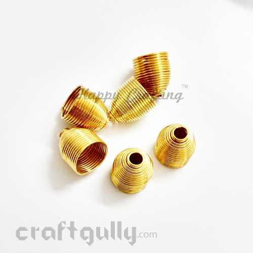 Bead Caps 9mm - Spring Dome - Golden Finish - Pack of 6