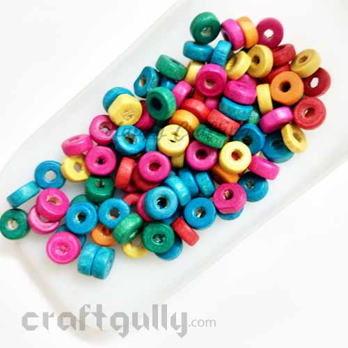 Wooden Beads 3mm - Disc - Assorted - 10 gms