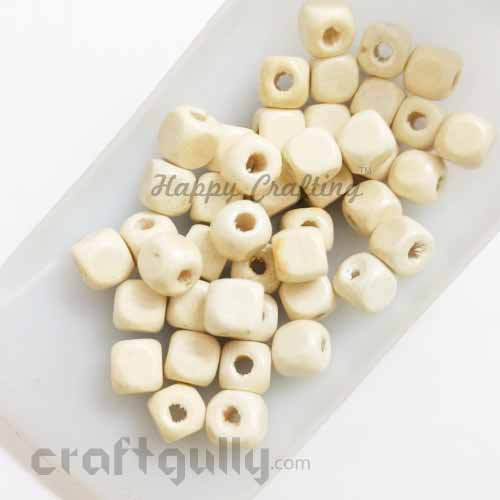 Wooden Beads 7mm - Cube - Natural - Pack of 40
