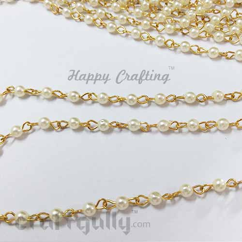 Chains - Faux Pearl 3mm - Golden & Cream - 13 Inches