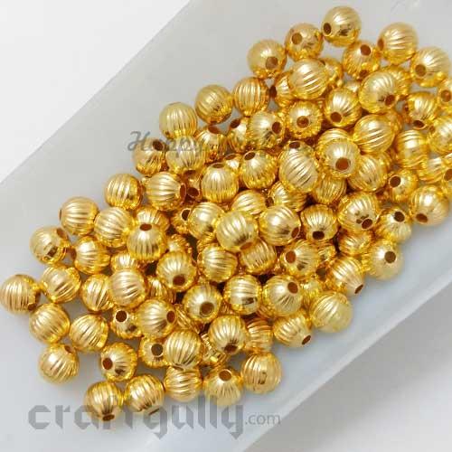 Acrylic Beads 6mm - Pumpkin - Golden Finish - Pack of 20
