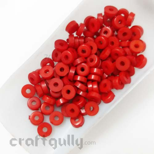 Acrylic Beads 2mm - Flat Disc - Red - Pack of 30