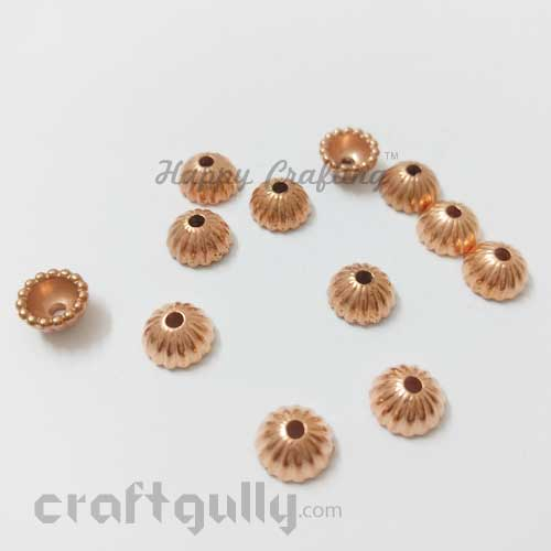 Bead Caps 8mm - Acrylic Umbrella - Rose Gold - Pack of 12