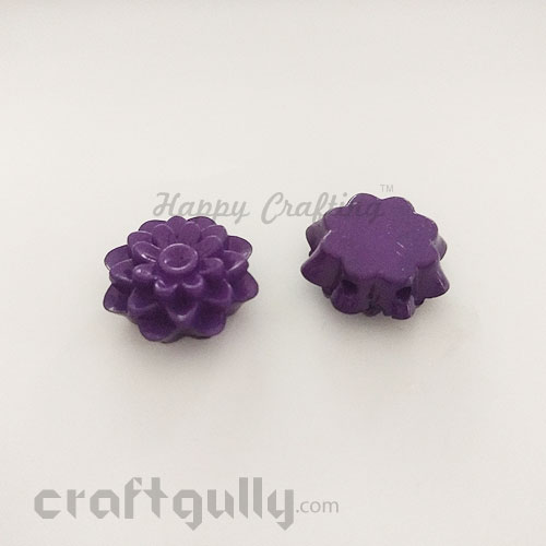 Acrylic Beads 20mm - Spacer - 2 String - Flower #7 - Purple - Pack of 1