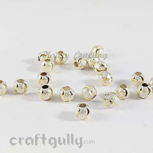 Metal Beads 8mm - Designer #10 - Silver & Golden - Pack of 10