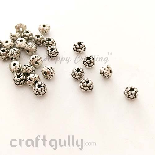 German Silver Beads 5mm - Lotus - Mini - Silver Finish - Pack of 6